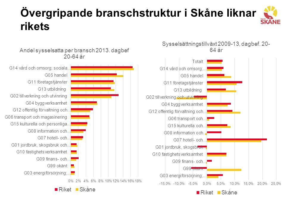 Övergripande branschstruktur i Skåne liknar rikets