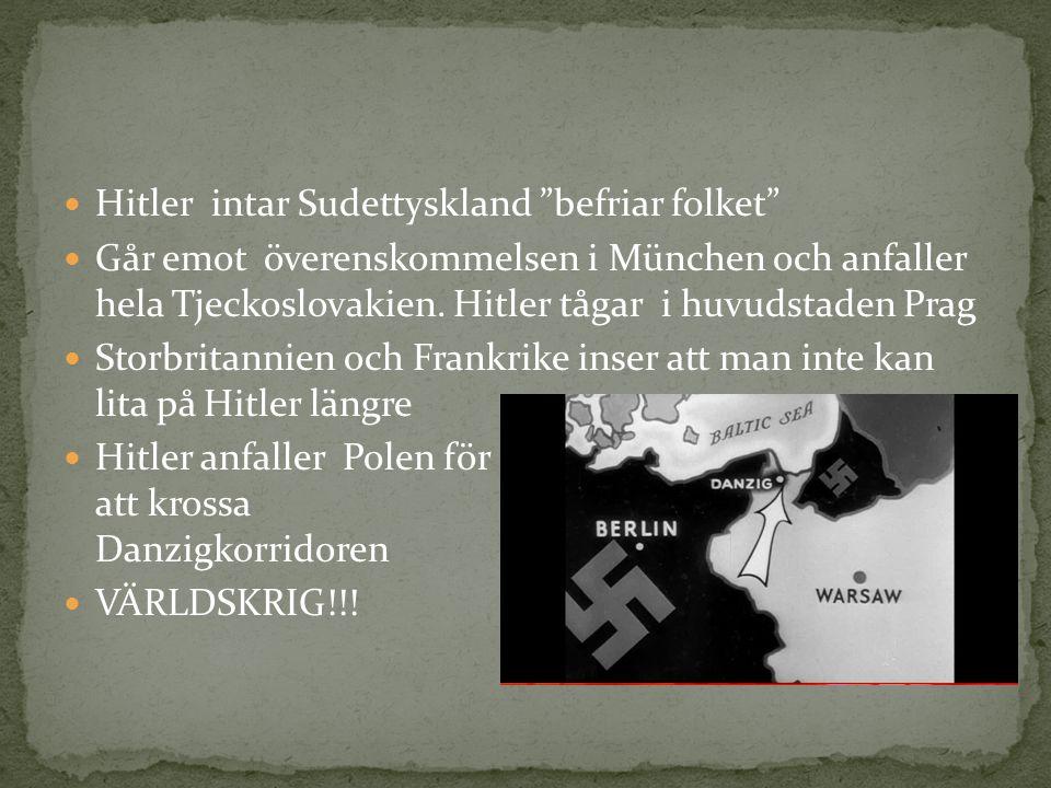 """Hitler intar Sudettyskland """"befriar folket"""" Går emot överenskommelsen i München och anfaller hela Tjeckoslovakien. Hitler tågar i huvudstaden Prag Sto"""