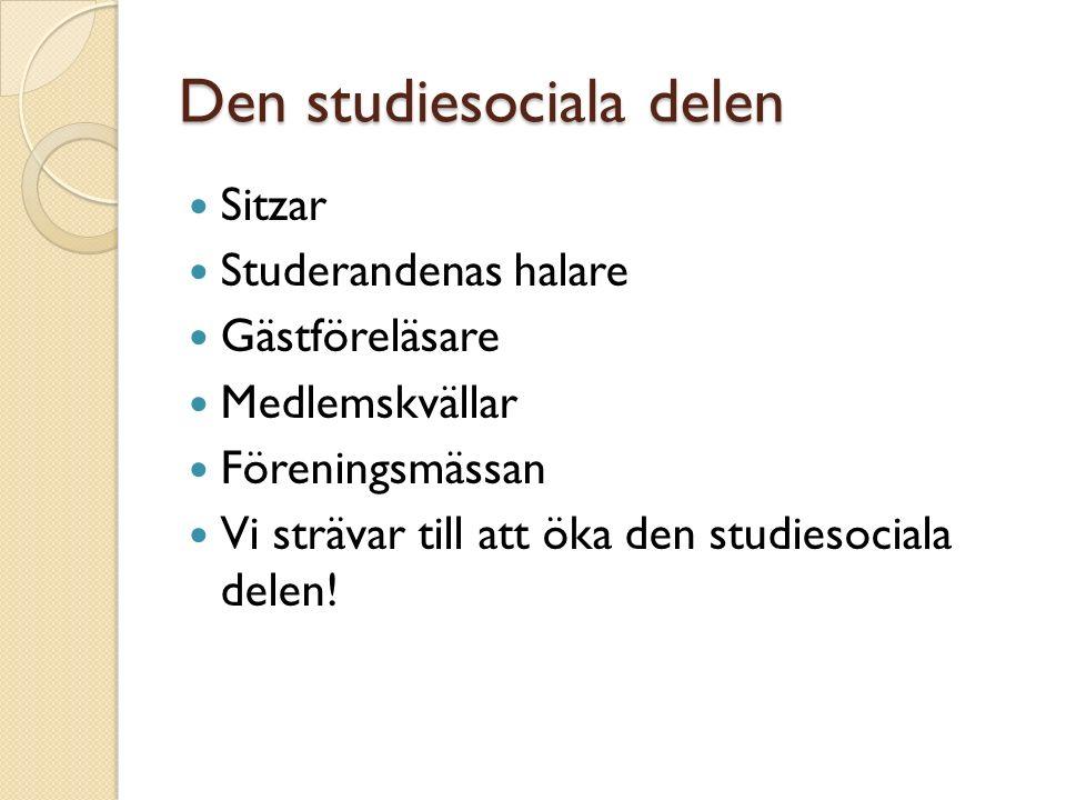 Den studiesociala delen Sitzar Studerandenas halare Gästföreläsare Medlemskvällar Föreningsmässan Vi strävar till att öka den studiesociala delen!