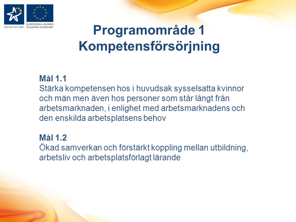 Programområde 1 Kompetensförsörjning Mål 1.1 Stärka kompetensen hos i huvudsak sysselsatta kvinnor och män men även hos personer som står långt från arbetsmarknaden, i enlighet med arbetsmarknadens och den enskilda arbetsplatsens behov Mål 1.2 Ökad samverkan och förstärkt koppling mellan utbildning, arbetsliv och arbetsplatsförlagt lärande