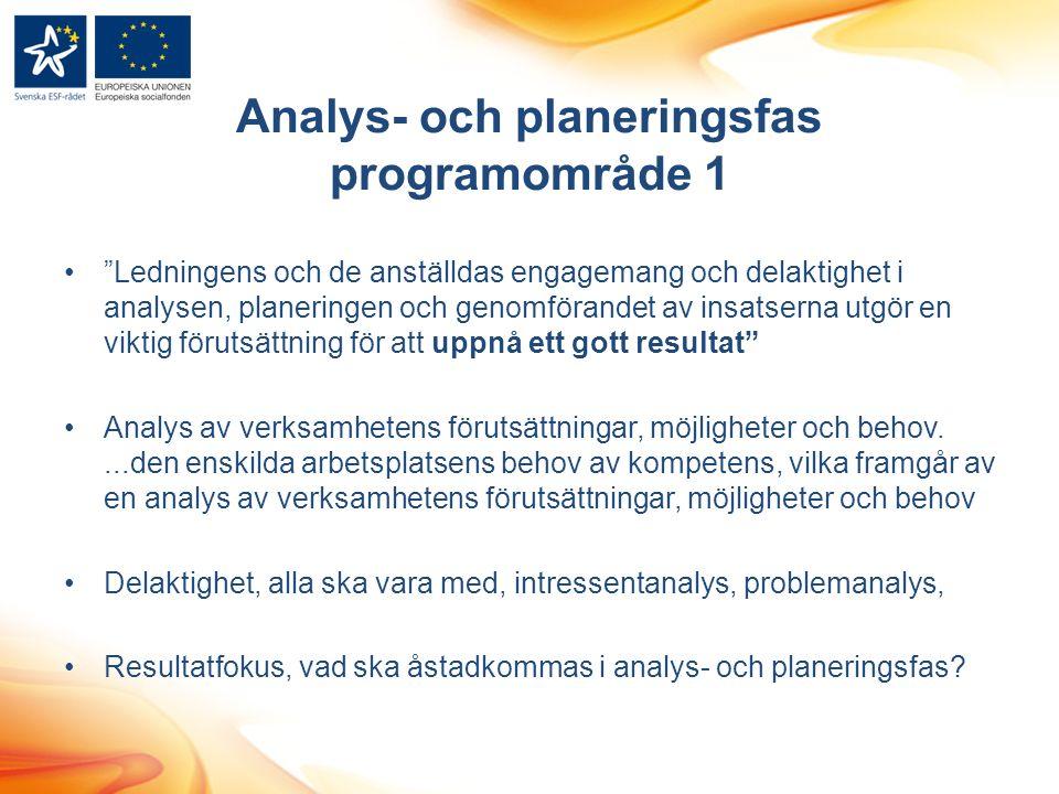 Analys- och planeringsfas programområde 1 Ledningens och de anställdas engagemang och delaktighet i analysen, planeringen och genomförandet av insatserna utgör en viktig förutsättning för att uppnå ett gott resultat Analys av verksamhetens förutsättningar, möjligheter och behov....den enskilda arbetsplatsens behov av kompetens, vilka framgår av en analys av verksamhetens förutsättningar, möjligheter och behov Delaktighet, alla ska vara med, intressentanalys, problemanalys, Resultatfokus, vad ska åstadkommas i analys- och planeringsfas?