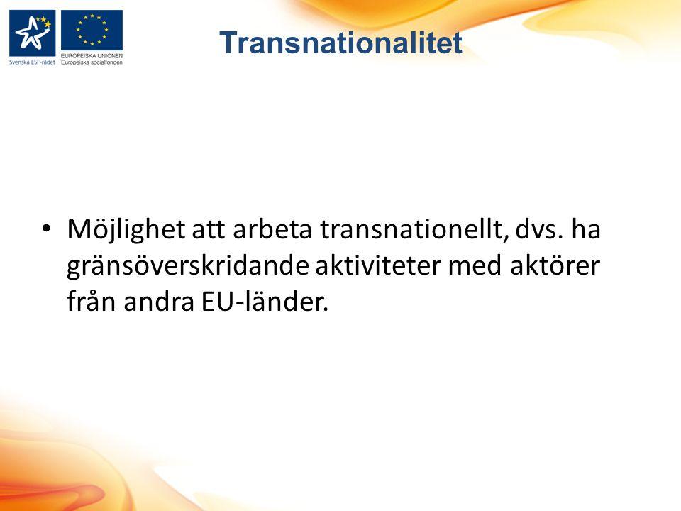 Transnationalitet Möjlighet att arbeta transnationellt, dvs.