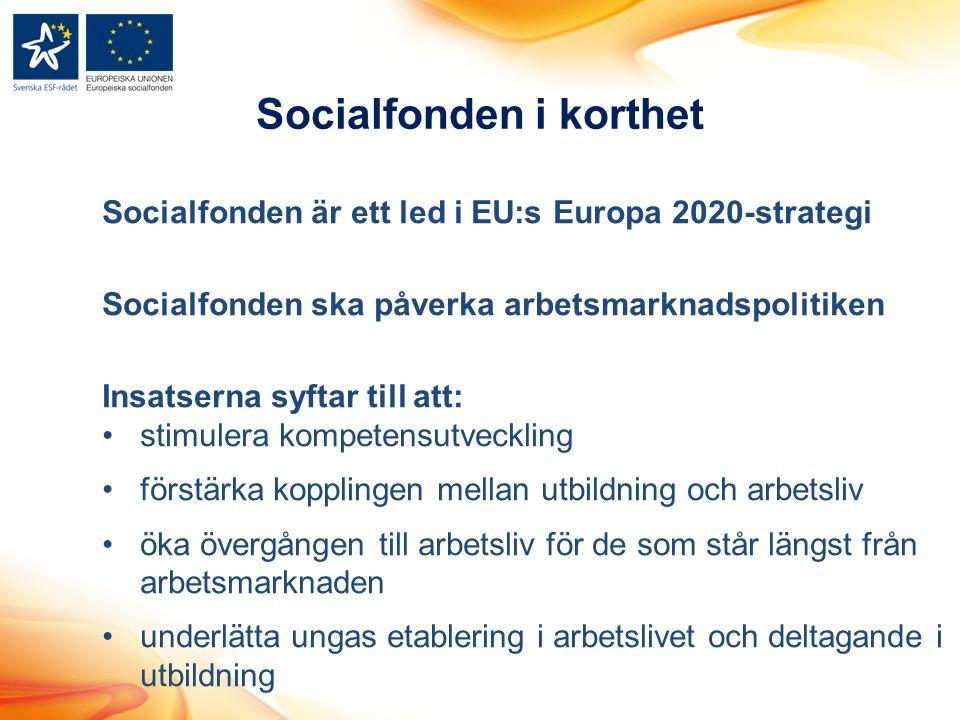 Socialfonden i korthet Socialfonden är ett led i EU:s Europa 2020-strategi Socialfonden ska påverka arbetsmarknadspolitiken Insatserna syftar till att: stimulera kompetensutveckling förstärka kopplingen mellan utbildning och arbetsliv öka övergången till arbetsliv för de som står längst från arbetsmarknaden underlätta ungas etablering i arbetslivet och deltagande i utbildning