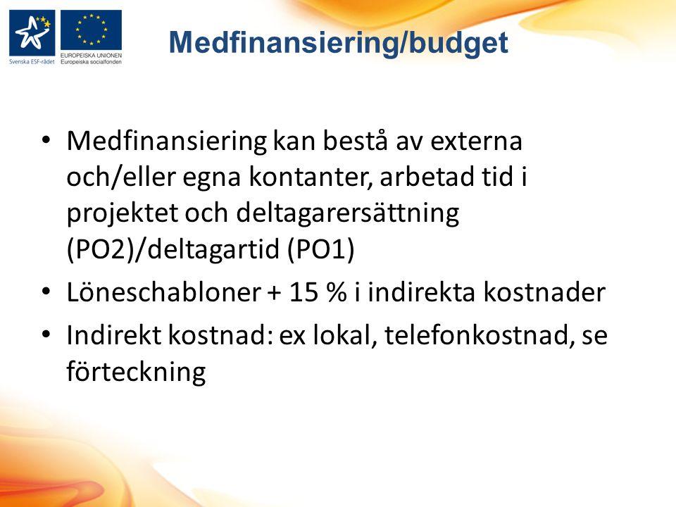 Medfinansiering/budget Medfinansiering kan bestå av externa och/eller egna kontanter, arbetad tid i projektet och deltagarersättning (PO2)/deltagartid (PO1) Löneschabloner + 15 % i indirekta kostnader Indirekt kostnad: ex lokal, telefonkostnad, se förteckning
