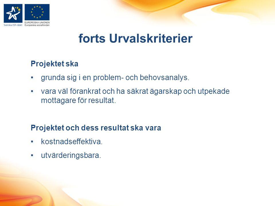 forts Urvalskriterier Projektet ska grunda sig i en problem- och behovsanalys.