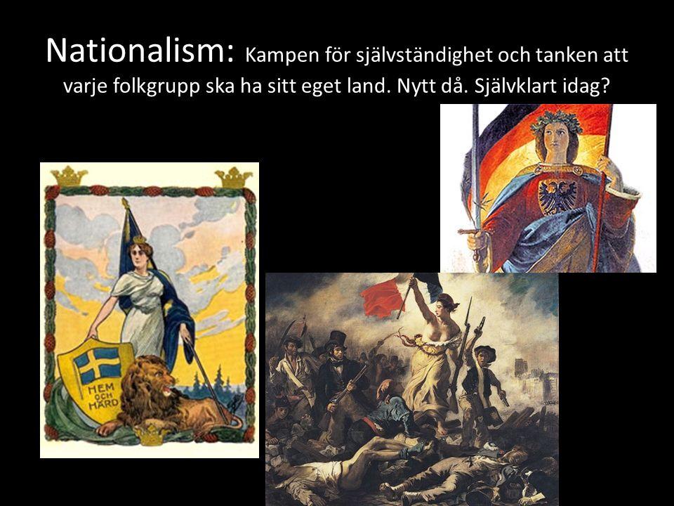 Nationalism: Kampen för självständighet och tanken att varje folkgrupp ska ha sitt eget land.