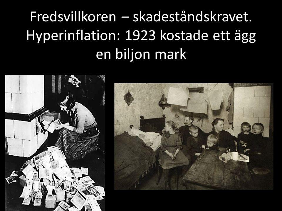 Fredsvillkoren – skadeståndskravet. Hyperinflation: 1923 kostade ett ägg en biljon mark