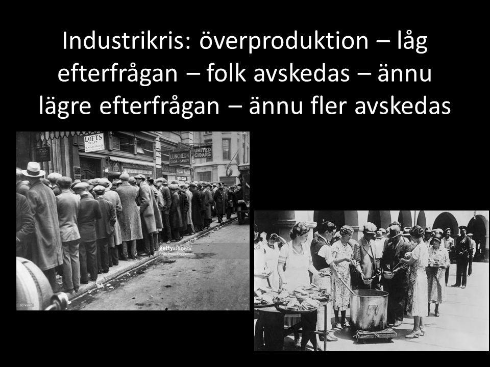 Industrikris: överproduktion – låg efterfrågan – folk avskedas – ännu lägre efterfrågan – ännu fler avskedas