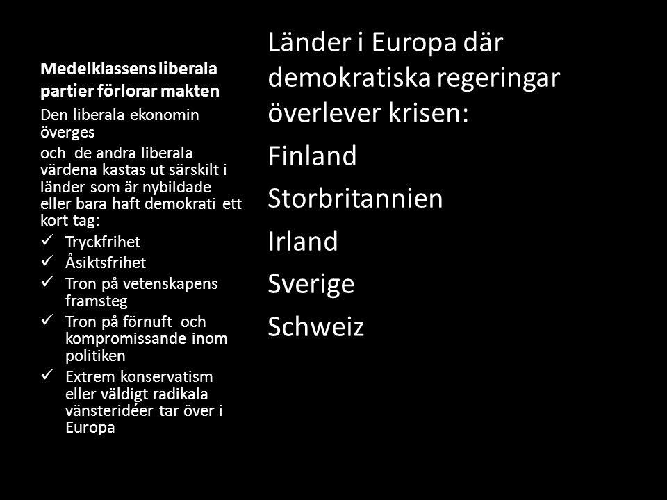 Medelklassens liberala partier förlorar makten Länder i Europa där demokratiska regeringar överlever krisen: Finland Storbritannien Irland Sverige Schweiz Den liberala ekonomin överges och de andra liberala värdena kastas ut särskilt i länder som är nybildade eller bara haft demokrati ett kort tag: Tryckfrihet Åsiktsfrihet Tron på vetenskapens framsteg Tron på förnuft och kompromissande inom politiken Extrem konservatism eller väldigt radikala vänsteridéer tar över i Europa