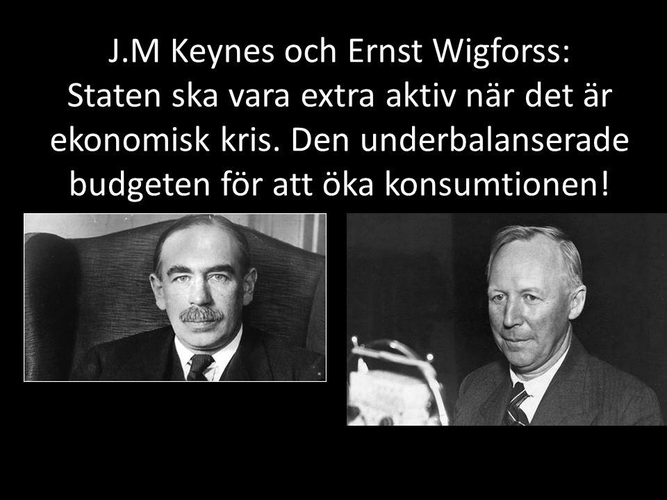 J.M Keynes och Ernst Wigforss: Staten ska vara extra aktiv när det är ekonomisk kris.