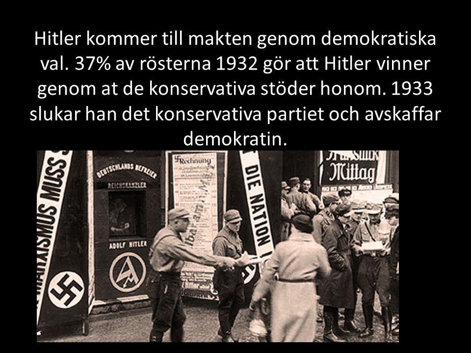 Hitler kommer till makten genom demokratiska val.