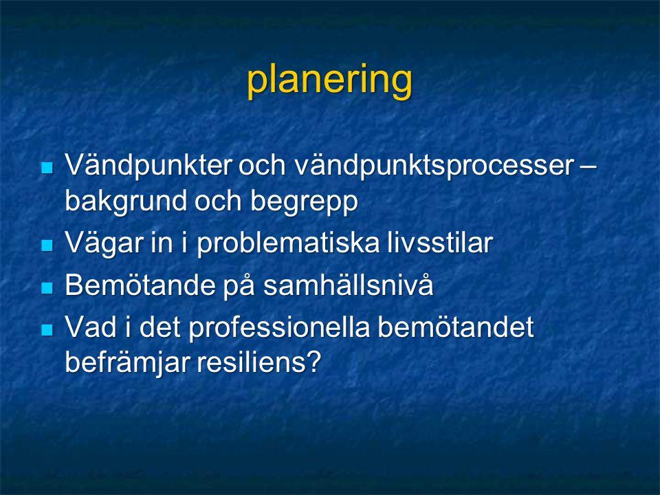 planering Vändpunkter och vändpunktsprocesser – bakgrund och begrepp Vändpunkter och vändpunktsprocesser – bakgrund och begrepp Vägar in i problematiska livsstilar Vägar in i problematiska livsstilar Bemötande på samhällsnivå Bemötande på samhällsnivå Vad i det professionella bemötandet befrämjar resiliens.