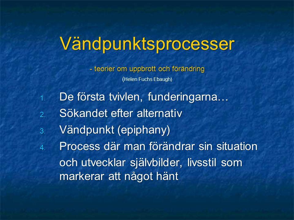 Vändpunktsprocesser - teorier om uppbrott och förändring ( Helen Fuchs Ebaugh) 1.