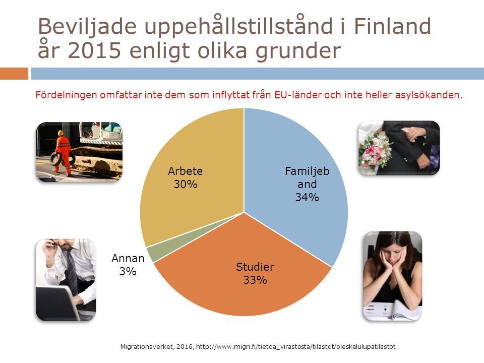 Beviljade uppehållstillstånd i Finland år 2015 enligt olika grunder Migrationsverket, 2016, http://www.migri.fi/tietoa_virastosta/tilastot/oleskelulupatilastot Fördelningen omfattar inte dem som inflyttat från EU-länder och inte heller asylsökanden.