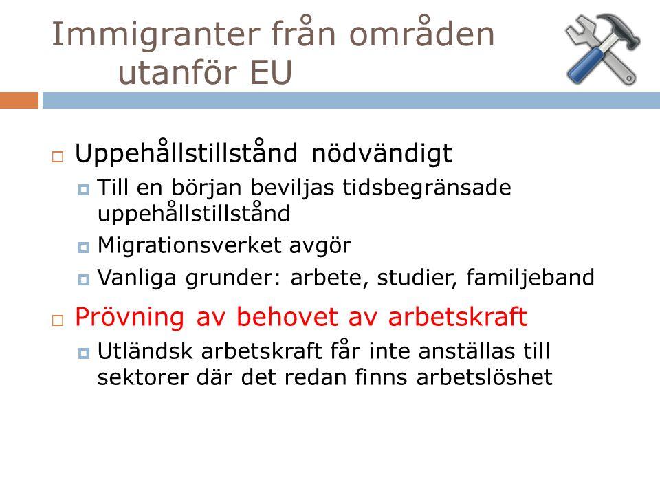 Immigranter från områden utanför EU  Uppehållstillstånd nödvändigt  Till en början beviljas tidsbegränsade uppehållstillstånd  Migrationsverket avgör  Vanliga grunder: arbete, studier, familjeband  Prövning av behovet av arbetskraft  Utländsk arbetskraft får inte anställas till sektorer där det redan finns arbetslöshet