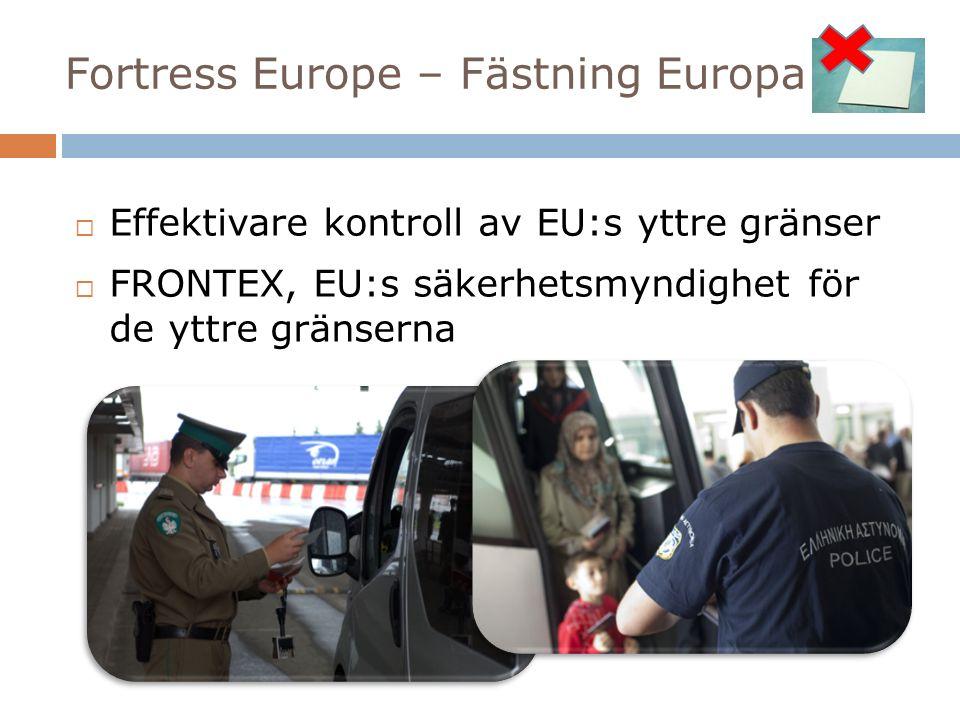 Fortress Europe – Fästning Europa  Effektivare kontroll av EU:s yttre gränser  FRONTEX, EU:s säkerhetsmyndighet för de yttre gränserna