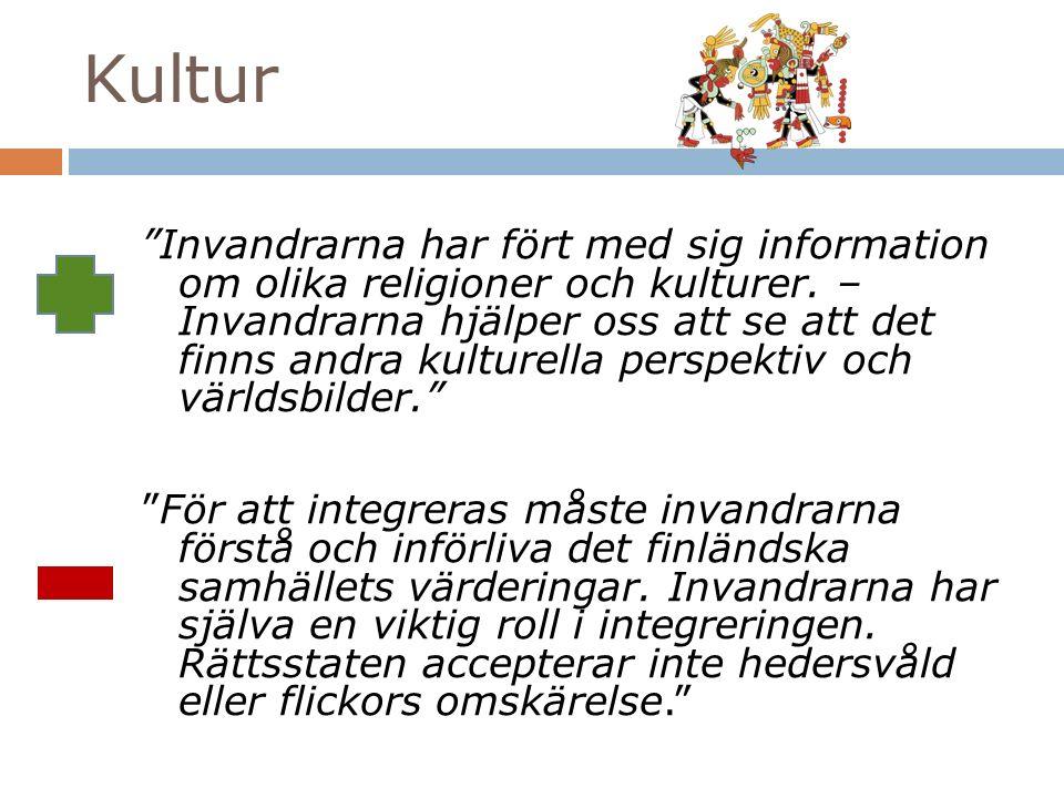 Kultur Invandrarna har fört med sig information om olika religioner och kulturer.