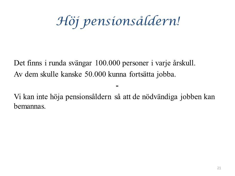 Höj pensionsåldern. Det finns i runda svängar 100.000 personer i varje årskull.