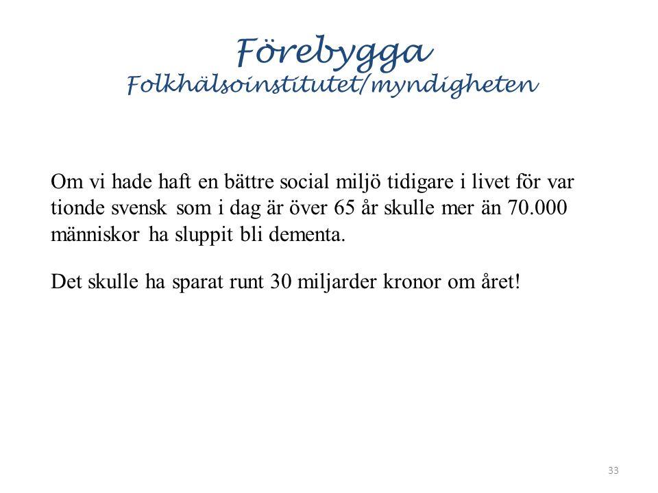 Förebygga Folkhälsoinstitutet/myndigheten Om vi hade haft en bättre social miljö tidigare i livet för var tionde svensk som i dag är över 65 år skulle mer än 70.000 människor ha sluppit bli dementa.