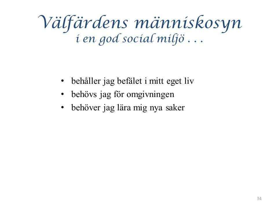 Välfärdens människosyn i en god social miljö...
