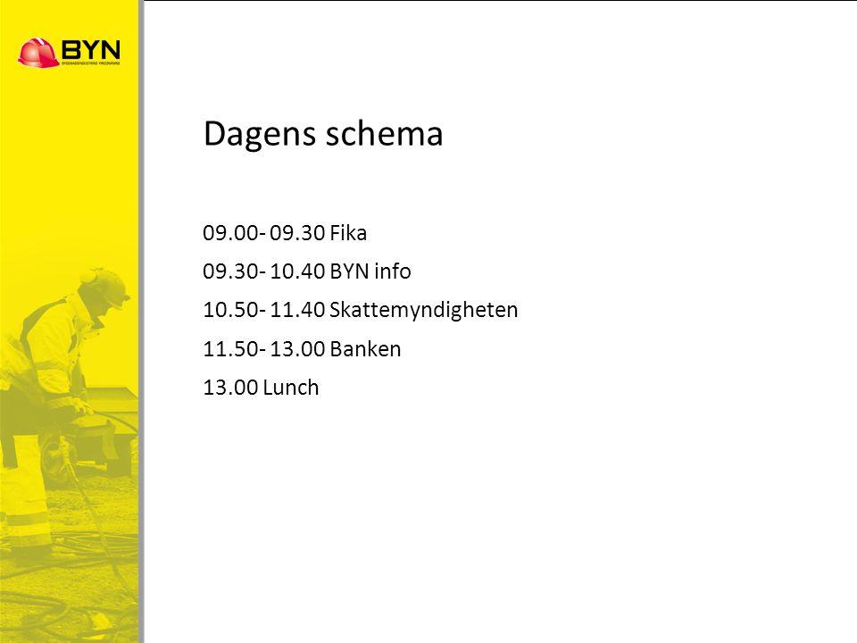 Dagens schema 09.00- 09.30 Fika 09.30- 10.40 BYN info 10.50- 11.40 Skattemyndigheten 11.50- 13.00 Banken 13.00 Lunch