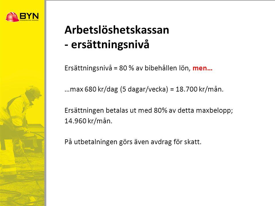 Ersättningsnivå = 80 % av bibehållen lön, men… …max 680 kr/dag (5 dagar/vecka) = 18.700 kr/mån. Ersättningen betalas ut med 80% av detta maxbelopp; 14