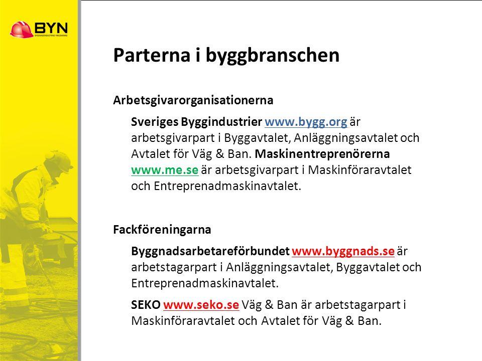 Parterna i byggbranschen Arbetsgivarorganisationerna Sveriges Byggindustrier www.bygg.org är arbetsgivarpart i Byggavtalet, Anläggningsavtalet och Avt