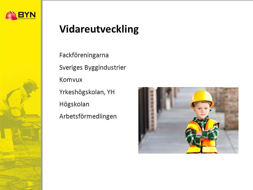 Vidareutveckling Fackföreningarna Sveriges Byggindustrier Komvux Yrkeshögskolan, YH Högskolan Arbetsförmedlingen