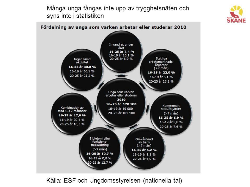 Många unga fångas inte upp av trygghetsnäten och syns inte i statistiken Källa: ESF och Ungdomsstyrelsen (nationella tal)