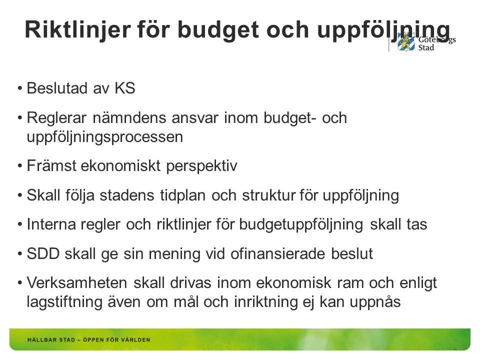 Riktlinjer för budget och uppföljning Beslutad av KS Reglerar nämndens ansvar inom budget- och uppföljningsprocessen Främst ekonomiskt perspektiv Skall följa stadens tidplan och struktur för uppföljning Interna regler och riktlinjer för budgetuppföljning skall tas SDD skall ge sin mening vid ofinansierade beslut Verksamheten skall drivas inom ekonomisk ram och enligt lagstiftning även om mål och inriktning ej kan uppnås