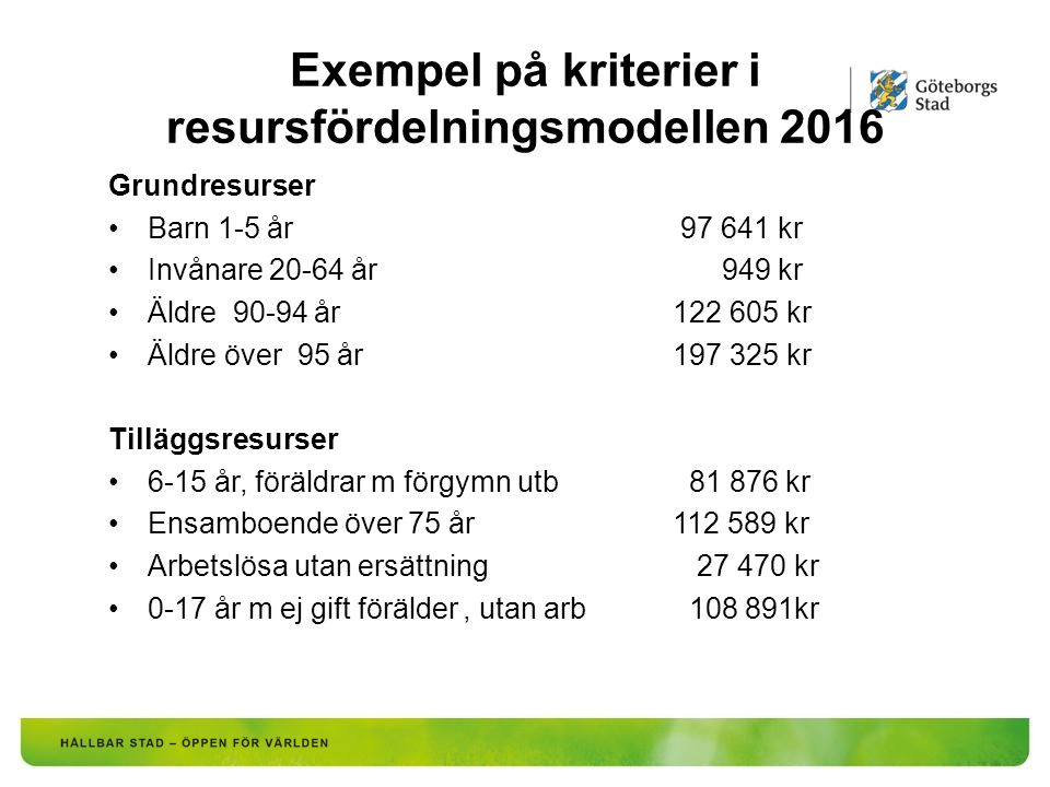 Exempel på kriterier i resursfördelningsmodellen 2016 Grundresurser Barn 1-5 år 97 641 kr Invånare 20-64 år 949 kr Äldre 90-94 år122 605 kr Äldre över