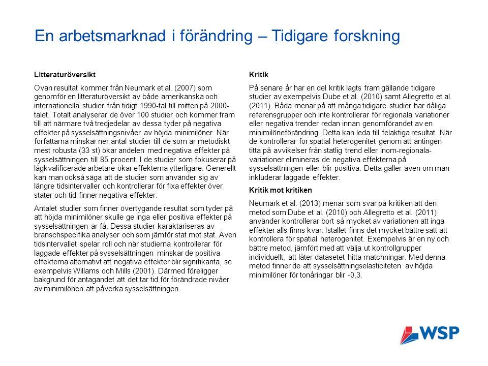 En arbetsmarknad i förändring – Tidigare forskning Litteraturöversikt Ovan resultat kommer från Neumark et al.