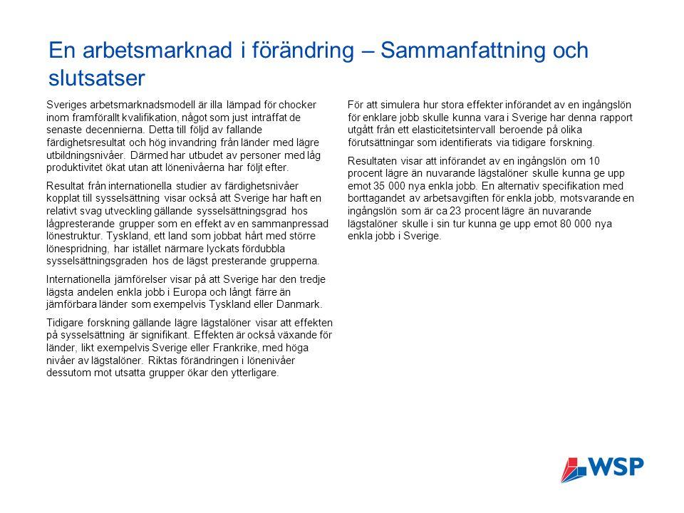 En arbetsmarknad i förändring – Sammanfattning och slutsatser Sveriges arbetsmarknadsmodell är illa lämpad för chocker inom framförallt kvalifikation, något som just inträffat de senaste decennierna.