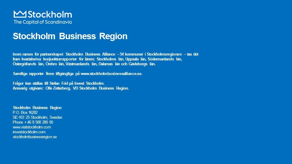 Stockholm Business Region Inom ramen för partnerskapet Stockholm Business Alliance – 54 kommuner i Stockholmsregionen – tas det fram kvartalsvisa konjunkturrapporter för länen; Stockholms län, Uppsala län, Södermanlands län, Östergötlands län, Örebro län, Västmanlands län, Dalarnas län och Gävleborgs län.