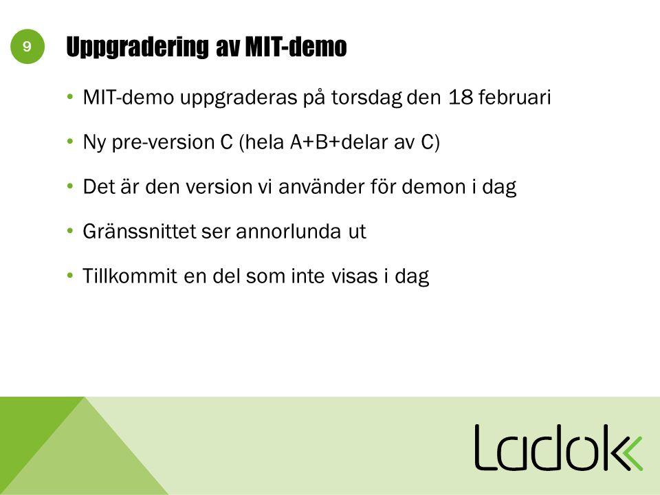 9 Uppgradering av MIT-demo MIT-demo uppgraderas på torsdag den 18 februari Ny pre-version C (hela A+B+delar av C) Det är den version vi använder för demon i dag Gränssnittet ser annorlunda ut Tillkommit en del som inte visas i dag