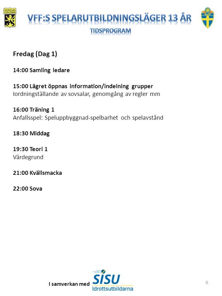 6 Fredag (Dag 1) 14:00 Samling ledare 15:00 Lägret öppnas information/indelning grupper Iordningställande av sovsalar, genomgång av regler mm 16:00 Träning 1 Anfallsspel: Speluppbyggnad-spelbarhet och spelavstånd 18:30 Middag 19:30 Teori 1 Värdegrund 21:00 Kvällsmacka 22:00 Sova I samverkan med