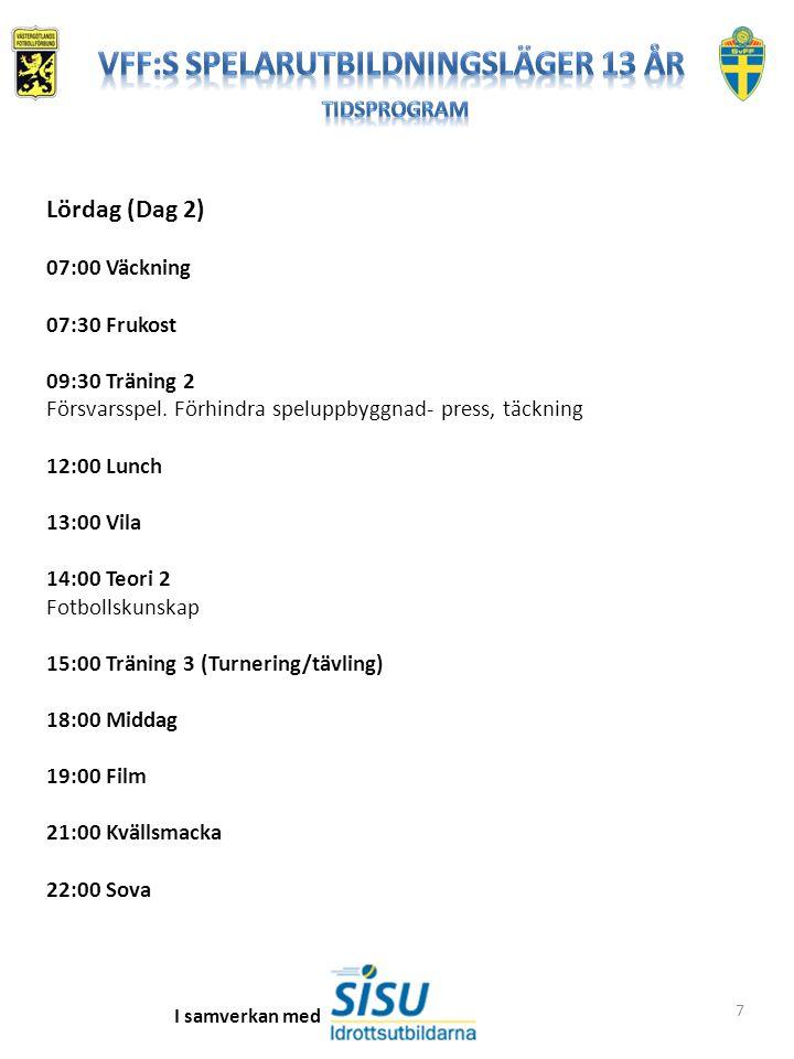 7 Lördag (Dag 2) 07:00 Väckning 07:30 Frukost 09:30 Träning 2 Försvarsspel. Förhindra speluppbyggnad- press, täckning 12:00 Lunch 13:00 Vila 14:00 Teo