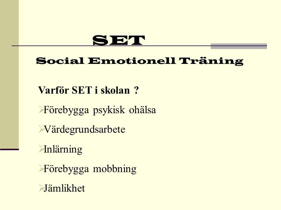 SET Social Emotionell Träning Skyddsfaktorer  God social kapacitet  Impulskontroll  Kunna hantera konflikter  Kunna lösa problem  Optimism och framtidstro