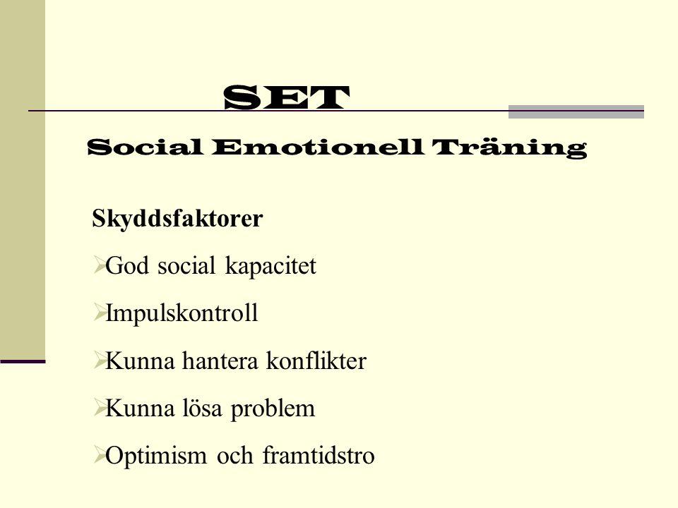 SET Social Emotionell Träning Skyddsfaktorer  Upplever förändringar som något positivt  Tycker att det som händer beror på egna handlingar  Kan hantera starka känslor  Realistisk uppfattning om egna styrkor och svagheter