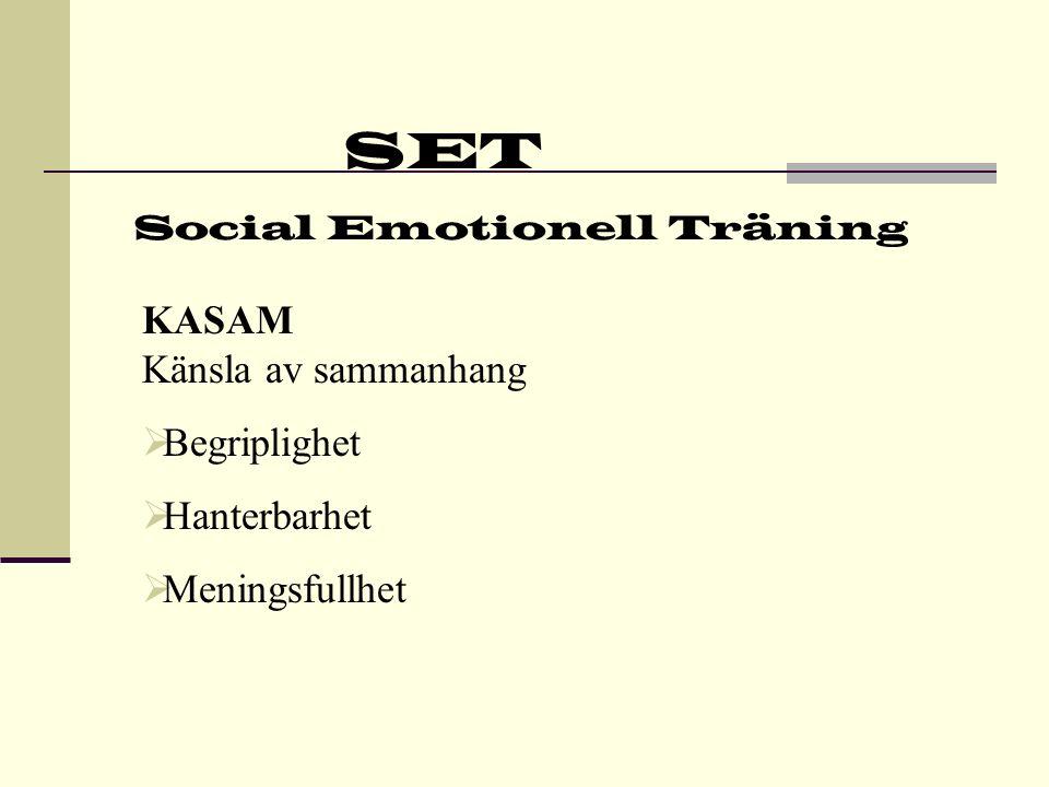 SET Social Emotionell Träning Skyddsfaktorer  Inre kontroll  Positivt självförtroende  Copingförmåga  Diverse skyddsfaktorer hos familjen  Skyddsfaktorer i omgivningen och på fritiden
