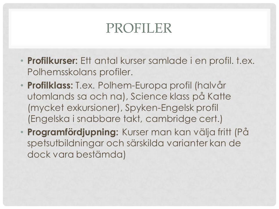 PROFILER Profilkurser: Ett antal kurser samlade i en profil.