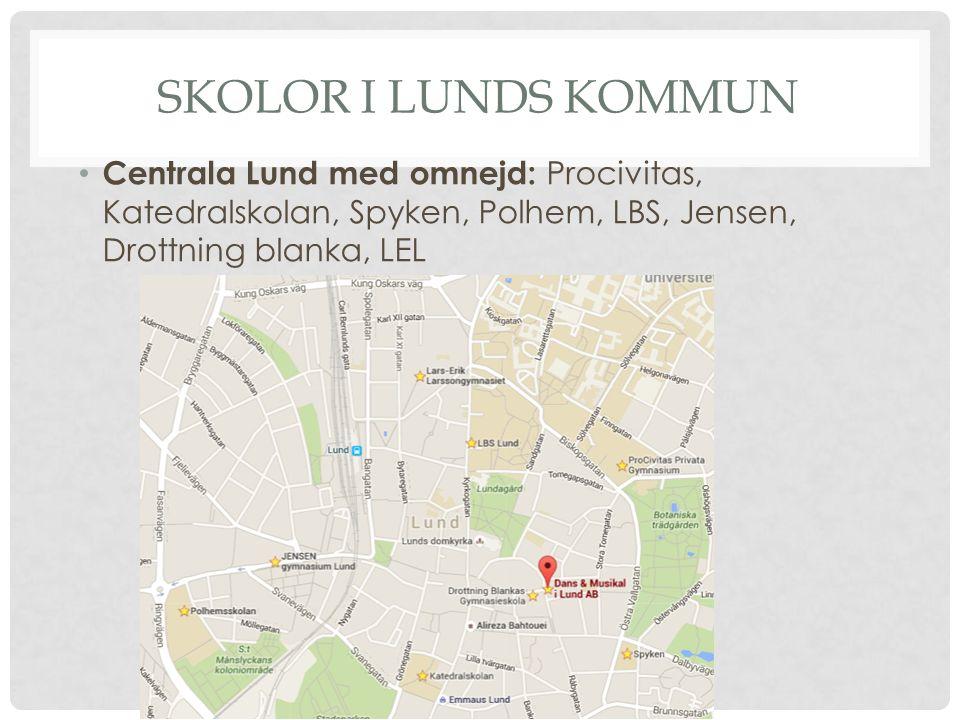SKOLOR I LUNDS KOMMUN Centrala Lund med omnejd: Procivitas, Katedralskolan, Spyken, Polhem, LBS, Jensen, Drottning blanka, LEL