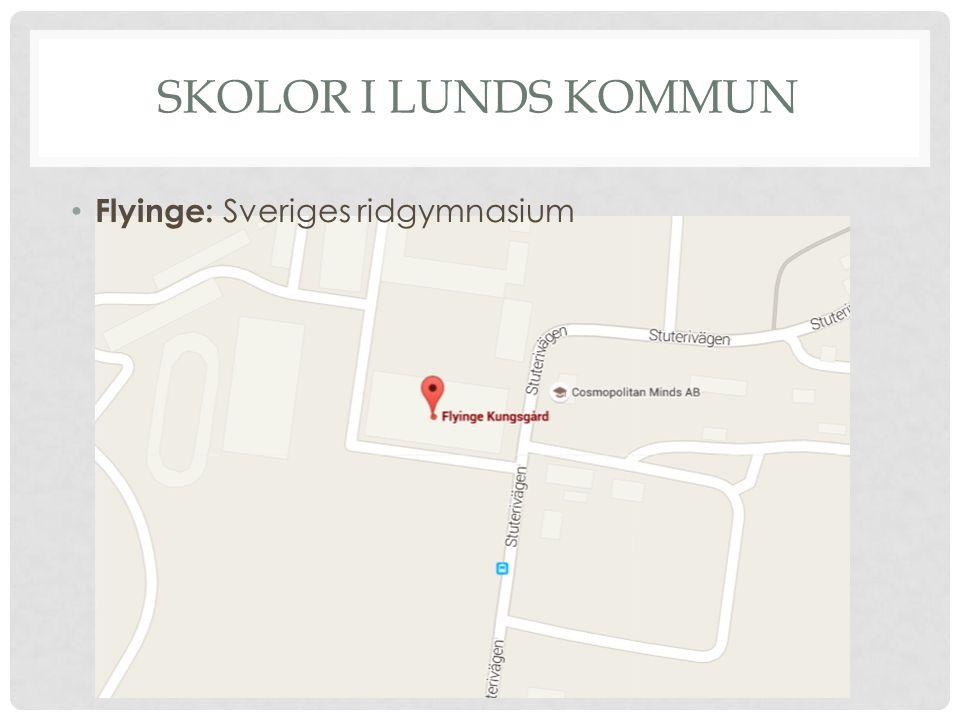 SKOLOR I LUNDS KOMMUN Flyinge: Sveriges ridgymnasium