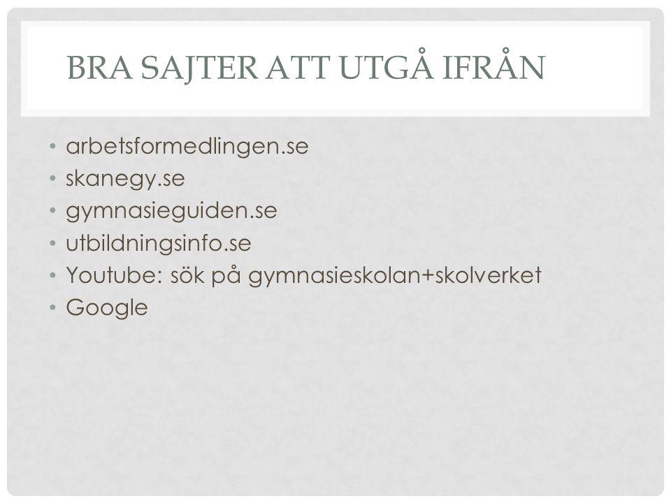 BRA SAJTER ATT UTGÅ IFRÅN arbetsformedlingen.se skanegy.se gymnasieguiden.se utbildningsinfo.se Youtube: sök på gymnasieskolan+skolverket Google