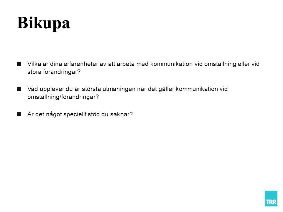 Bikupa Vilka är dina erfarenheter av att arbeta med kommunikation vid omställning eller vid stora förändringar.