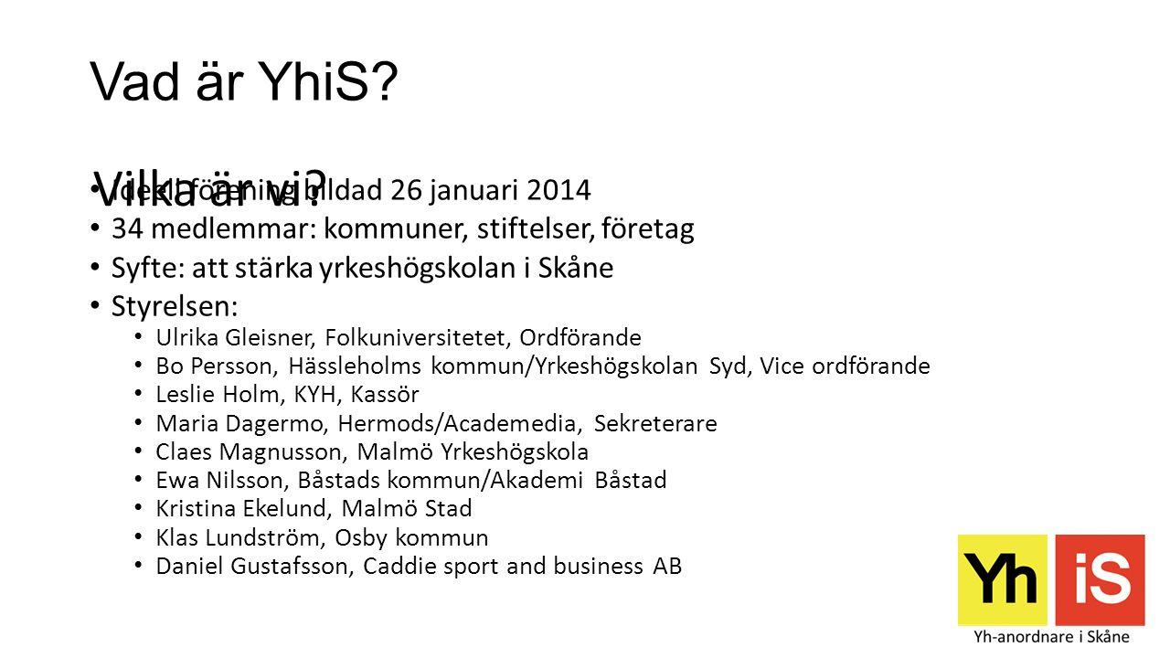 Vad är YhiS? Ideell förening bildad 26 januari 2014 34 medlemmar: kommuner, stiftelser, företag Syfte: att stärka yrkeshögskolan i Skåne Styrelsen: Ul