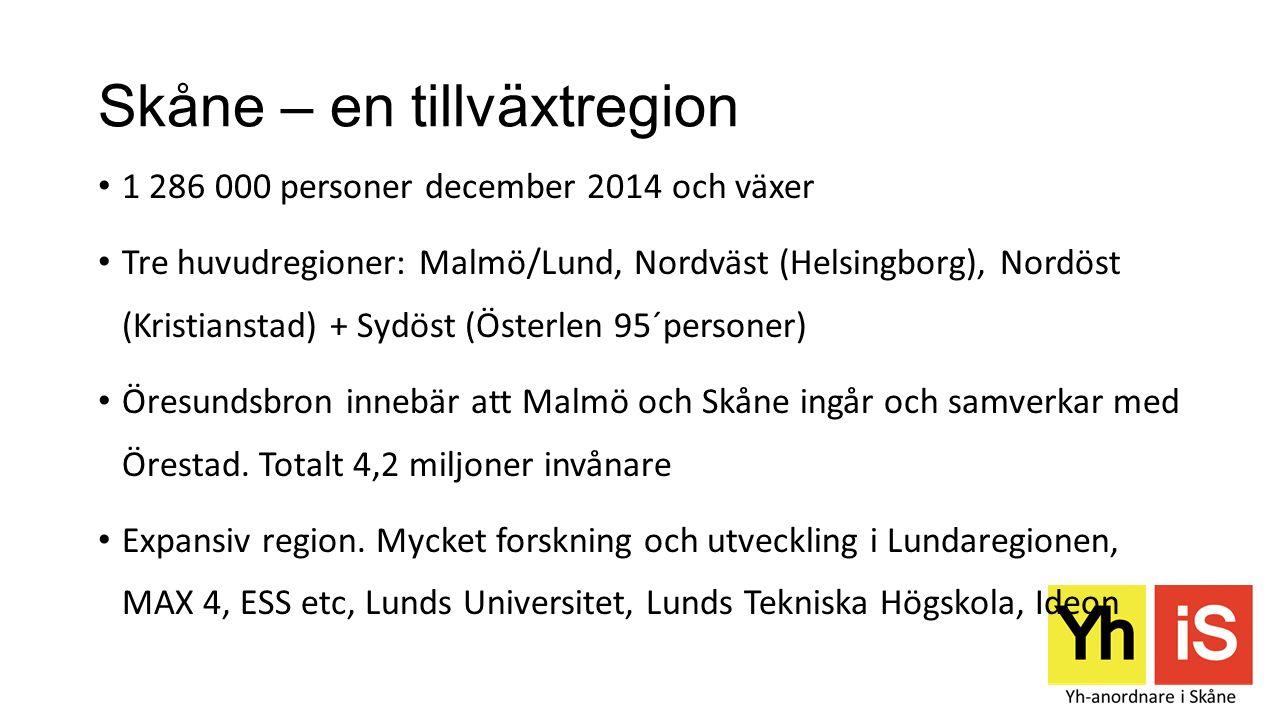 Skåne – en tillväxtregion 1 286 000 personer december 2014 och växer Tre huvudregioner: Malmö/Lund, Nordväst (Helsingborg), Nordöst (Kristianstad) + S