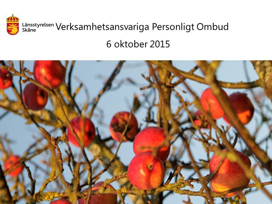 Verksamhetsansvariga Personligt Ombud 6 oktober 2015