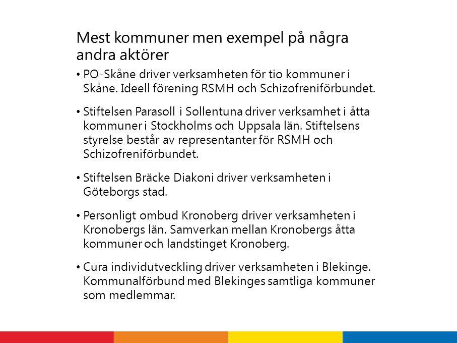 Mest kommuner men exempel på några andra aktörer PO-Skåne driver verksamheten för tio kommuner i Skåne.
