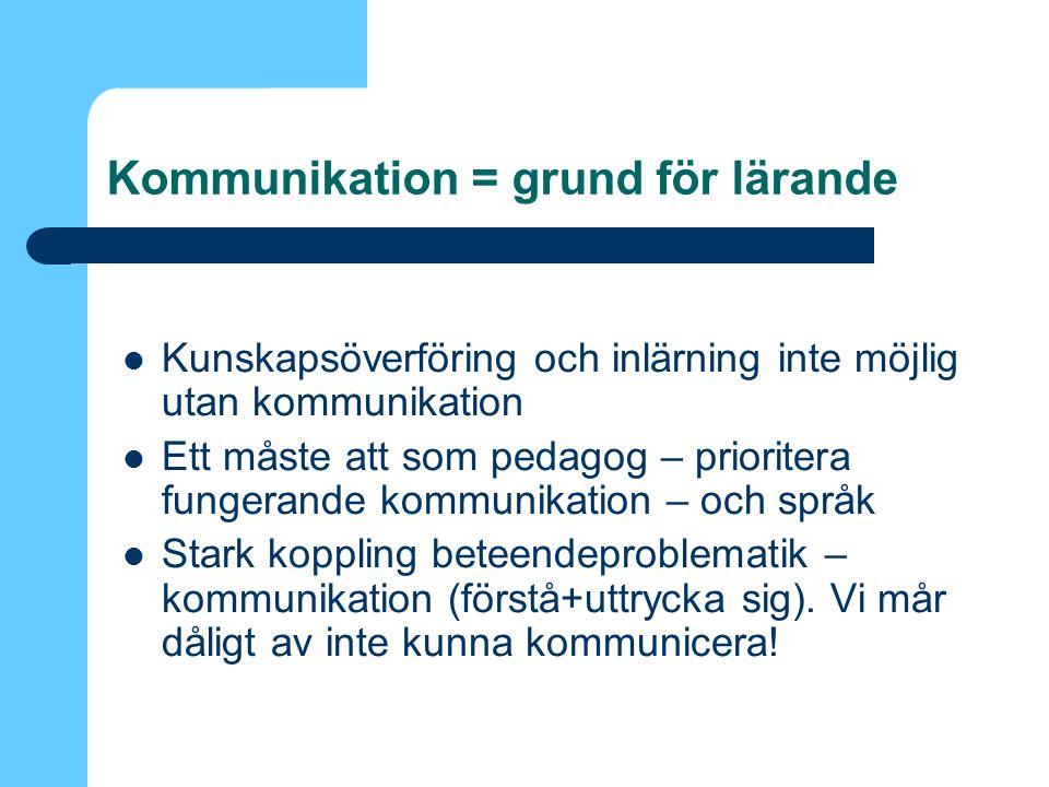 Kommunikation = grund för lärande Kunskapsöverföring och inlärning inte möjlig utan kommunikation Ett måste att som pedagog – prioritera fungerande kommunikation – och språk Stark koppling beteendeproblematik – kommunikation (förstå+uttrycka sig).